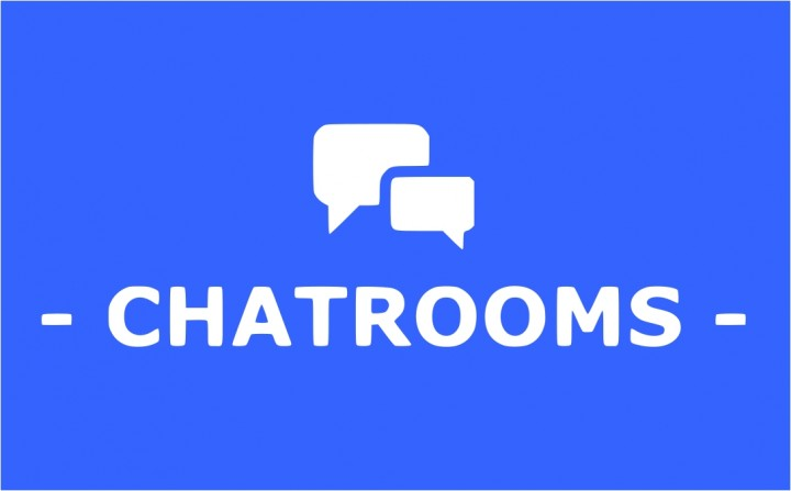 chatrooms header in blue with icon